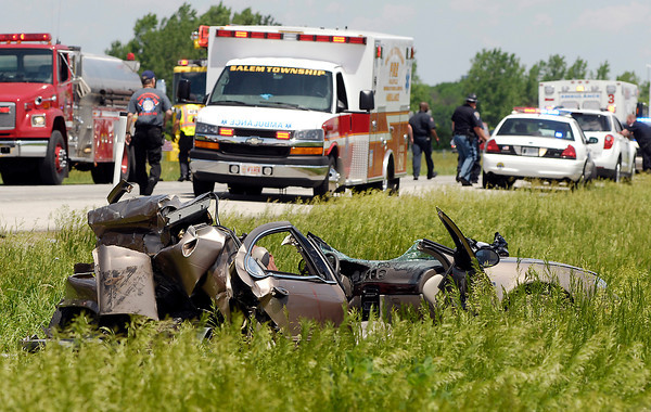 John P. Cleary | The Herald Bulletin<br /> A serious accident Tuesday morning at the 234 mile-marker on I 69 in the northbound lanes that killed one and injured six other persons.
