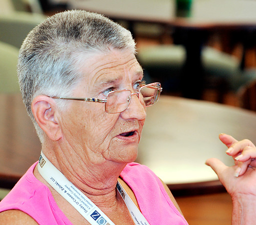 John P. Cleary   The Herald Bulletin<br /> Parkview Place resident Linda Reeser discusses issues surrounding the YMCA.