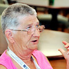 John P. Cleary | The Herald Bulletin<br /> Parkview Place resident Linda Reeser discusses issues surrounding the YMCA.