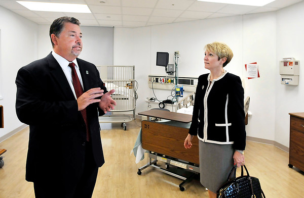 John P. Cleary | The Herald Bulletin Ivy Tech Anderson campus president James Willey shows incoming Ivy Tech president Sue Ellspermann the St. Vincent Clinical Education Center as she toured the Anderson campuses Monday afternoon.