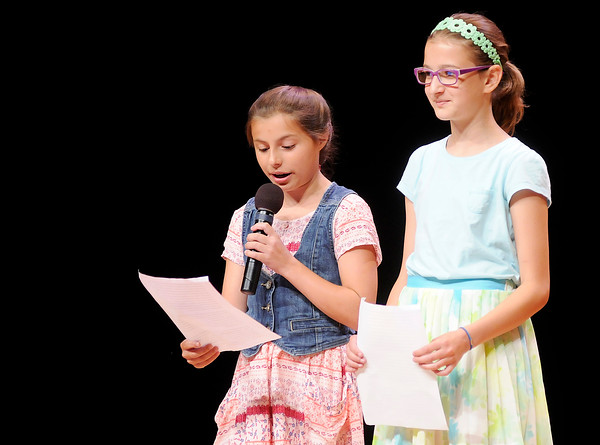 Don Knight   The Herald Bulletin<br /> From left, Gabby Hosier and Lilly Thomas from Alexandria-Monroe Elementary school share their perspective during eLEAD 2016 at Anderson University on Wednesday.