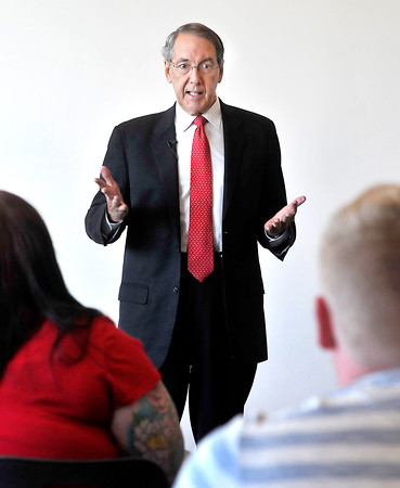 John P. Cleary   The Herald Bulletin<br /> Tom Snyder, president of Ivy Tech Community College, speaks to students in a Human Services class recently.