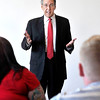 John P. Cleary | The Herald Bulletin<br /> Tom Snyder, president of Ivy Tech Community College, speaks to students in a Human Services class recently.