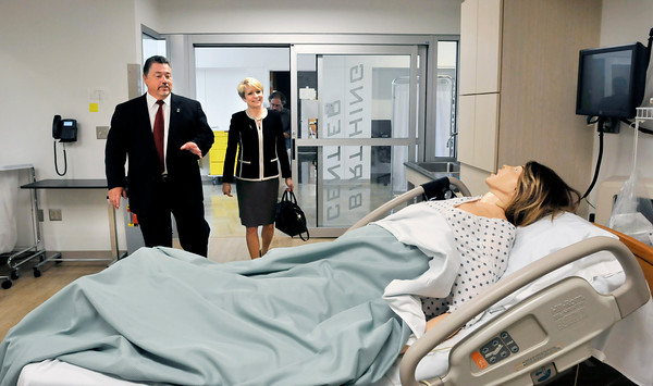 John P. Cleary | The Herald Bulletin Ivy Tech Anderson campus president James Willey shows incoming Ivy Tech president Sue Ellspermann the birthing center room in the St. Vincent Clinical Education Center as she toured the Anderson campuses Monday afternoon. Ellspermann will start her new position July 1st.