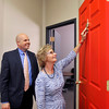 John P. Cleary | The Herald Bulletin<br /> Indiana Secretary of State Connie Lawson knocks on the Door of Opportunity in the Madison County Chamber offices while there for a presentation.