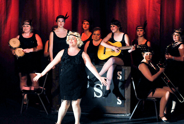 """John P. Cleary   The Herald Bulletin<br /> Sugar Kane (Melissa Franklin) sings with Sweet Sue's all-female band in the Mainstage production of """"Suger."""""""