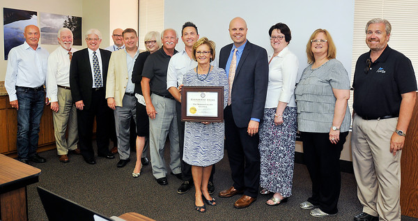 John P. Cleary   The Herald Bulletin<br /> Madison County Chamber receives a Century Certificate from Indiana Secretary of State Connie Lawson.