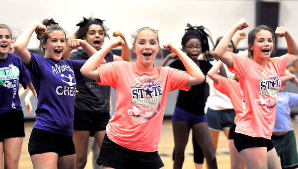 John P. Cleary | The Herald Bulletin<br /> Local cheerleading squad Anderson Invasion practices their routine as they prepare for a national competition.