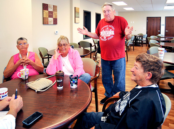 John P. Cleary   The Herald Bulletin<br /> Residents of Parkview Place talk about the YMCA. Linda Reeser, Karen Braden, Randy Willis, and Lynn Pharris discuss issues about the Y.