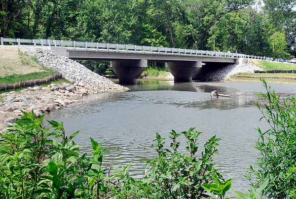 John P. Cleary | The Herald Bulletin<br /> Madison County bridge No. 97 was officially opened Tuesday over Killbuck Creek after the old bridge has been closed since 2001.