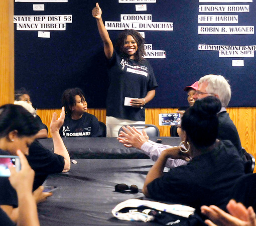 John P. Cleary | The Herald Bulletin<br /> Democrat Rosemary Khoury gives a thumps-up after she announced she is running for Circuit Court, Division 6 judge this fall at Democrat headquarters Monday afternoon.