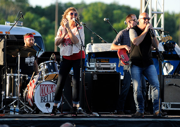 Don Knight | The Herald Bulletin<br /> Cook and Belle opened up for the Steve Miller Band, the first concert of Hoosier Parks summer concert series on Saturday.