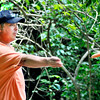 John P. Cleary | The Herald Bulletin<br /> Curtis Vest, from Marion, lets a shot go as he plays the Elwood disc golf course.