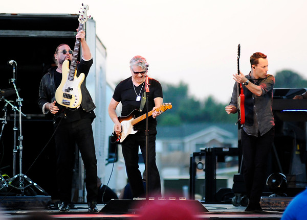 Don Knight | The Herald Bulletin<br /> The Steve Miller Band kicked off Hoosier Parks Summer Concert series on Saturday. From left are Kenny Lee Lewis, Steve Miller and Jacob Peterson.