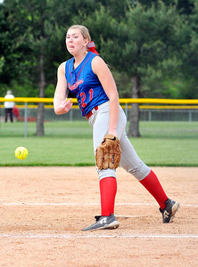John P. Cleary | The Herald Bulletin Elwood pitcher Mackenzie Bryan lets go with a pitch against Oak Hill.