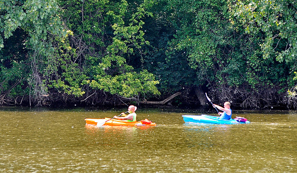John P. Cleary    The Herald Bulletin<br /> It was a good day to get out and paddle around Shadyside Lake in a kayak with the lower temperatures and humidity making  it more comfortable to be outside, even if you might have had to dodge some rain showers.