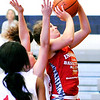 John P. Cleary |  The Herald Bulletin <br /> Alexandria's Blaine Kelly goes up for a shot during the Junior Girls All-Star game Friday at AU.