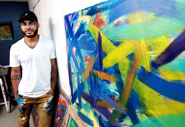 Don Knight | The Herald Bulletin<br /> Tanner Lemon in his studio at the A Town Center.