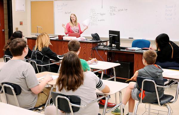 Don Knight | For The Herald Bulletin<br /> Stephanie Farrell teaches math at Highland on Wednesday.