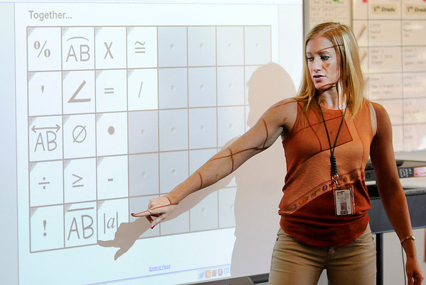 Don Knight   For The Herald Bulletin<br /> Heather Green teaches math at Highland on Wednesday.