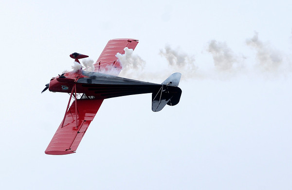 Don Knight | For The Herald Bulletin<br /> Erik Edgren performs during Aviation Days at the Anderson Municipal Airport on Saturday.