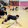 Don Knight | For The Herald Bulletin<br /> Louis Jackson does a Spiderman drill during an Athletics class at Highland on Wednesday.