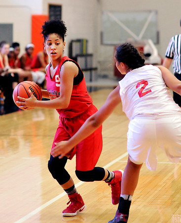 John P. Cleary |  The Herald Bulletin <br /> Anderson's freshman Erin Martin plays in the Future Girls game of the Indiana Class Basketball All-Star Classic at AU Friday.