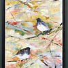 "John P. Cleary |  The Herald Bulletin<br /> Anderson Center for the Arts' annual ""Figures of Speech"" exhibition.<br /> This is ""Birds of a Feather (Juncos)"", an oil on canvas piece by Anne Parks of West Lafayette."