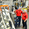 John P. Cleary |  The Herald Bulletin<br /> Travis Hood and Alex Huff work at Red Gold while attending Purdue Polytechnic. Here they check out a packing line as the cans move down to be packed then labeled at the Red Gold Orestes operation.