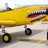 Don Knight   For The Herald Bulletin<br /> Chase Jent, 4, poses for a photo in front of a PT26A on display during Aviation Days at the Anderson Municipal Airport on Saturday.