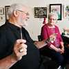 John P. Cleary |  The Herald Bulletin<br /> Jerry Wymer and Sharon Robinson talk about how Abstract Annie came about. Both are members of the Pendleton Artists Society with Wymer serving as the current president.