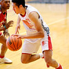 Don Knight   For The Herald Bulletin<br /> Frankton's Maurice Knight drives toward the baseline during the Senior Boys game at the Indiana Class Basketball All-Star Classic at AU on Saturday.