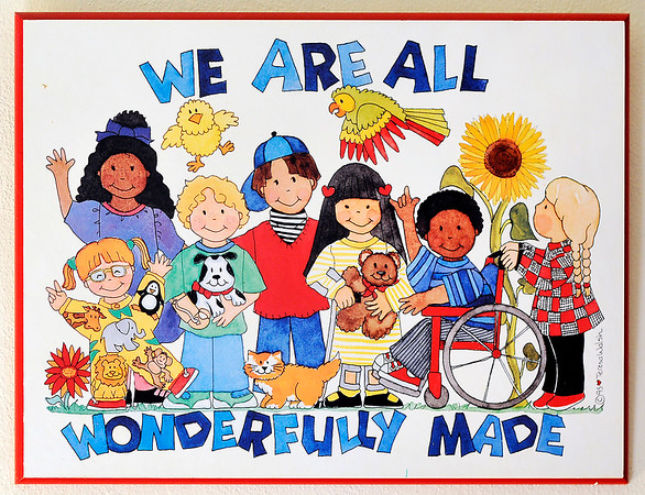 John P. Cleary    The Herald Bulletin<br /> This is a poster that is on the wall of the playroom in Barbara and Fred Freeman's home for their foster children.