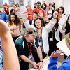 Don Knight | For The Herald Bulletin<br /> Teachers react after opening the fourth an final lock on a box while experiencing a Breakout EDU game during the eLEAD conference at Anderson University on Tuesday. The website Breakout EDU has several games of varying difficulty and subject matter for use in the classroom.