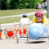 Don Knight | The Herald Bulletin<br /> Michael Baylor crosses the finish line at Derby Downs as he competes in the Super Stock division during the Soapbox Derby on Saturday.