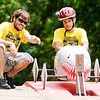 Don Knight | The Herald Bulletin<br /> Joe Allred gives some driving tips to Dominick Thurman before the start of his race during the Soapbox Derby on Saturday.