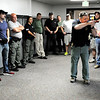 Don Knight | The Herald Bulletin<br /> Assistant Markleville Police Chief Ron Allen teaches on entering and clearing a room during active shooter training involving local officers and teachers at Daleville High School on Saturday.
