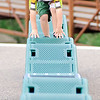 John P. Cleary | The Herald Bulletin <br /> Cooper Engelberth, 3, concentrates as he steadies himself while he moves along the reflex walk at the Daleville Park playground Tuesday afternoon.