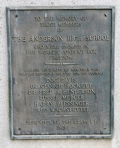 Don Knight | The Herald Bulletin The names of Anderson High School graduates who died in World War I are on a monument that is located next to the Wigwam.
