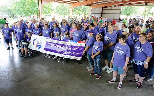 Don Knight | The Herald Bulletin<br /> Cancer survivor lap during the American Cancer Society's Relay for Life at Beulah Park in Alexandria on Friday.