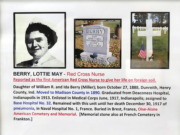 John P. Cleary | The Herald Bulletin <br /> Lottie May Berry, from Frankton, was the first American Red Cross Nurse to give her life on foreign soil during WW I.