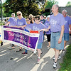 Don Knight | The Herald Bulletin<br /> Cancer survivors walk a lap during the American Cancer Society's Relay for Life at Beulah Park in Alexandria on Friday.
