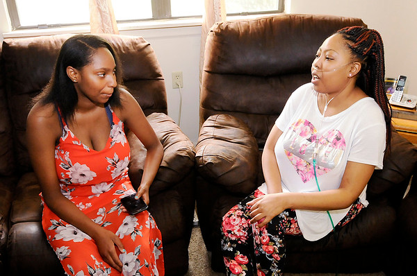 Don Knight | The Herald Bulletin<br /> Latoya Braxton, right, and her daughter Simara Humphrey. Braxton is a sickle cell patient and has been seeing Dr. Brian Eddy for 18 years.