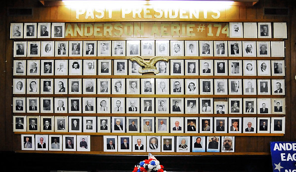 John P. Cleary | The Herald Bulletin <br /> The Fraternal Order of Eagles Lodge 174, located in downtown Anderson, was the first FOE lodge in the state of Indiana. Here in the foyer is a display of all the past presidents of the local lodge.