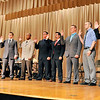 John P. Cleary | The Herald Bulletin <br /> Nine new Anderson firefighters take their oath from city clerk Sheila Ashley during Monday's Board of Public Safety meeting.