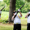 Don Knight | The Herald Bulletin<br /> The Daleville American Legion Post 446 Honor Guard fires three volleys from their M1 Garands during a flag retirement ceremony at the 40 and 8 on Thursday. The ceremony is held annually on Flag Day.