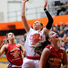 Don Knight | The Herald Bulletin<br /> Pendleton Heights Megan Mills shoots a layup as she plays in the junior girls game during the Indiana Class Basketball All-Star Classic at Anderson University on Saturday.