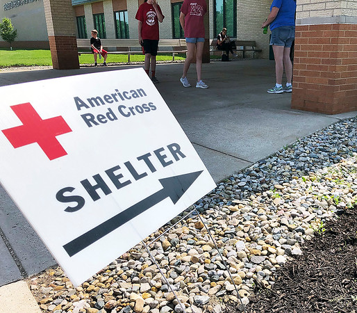 After the tornado that hit the Pendleton area had passed, Red Cross volunteers worked to establish a shelter for residents in need at Pendleton Heights High School.