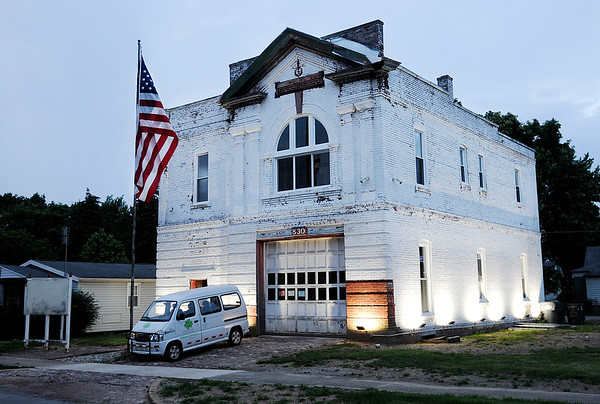 Don Knight   The Herald Bulletin<br /> Tim Perry is turning the former fire station on third street into a business office.