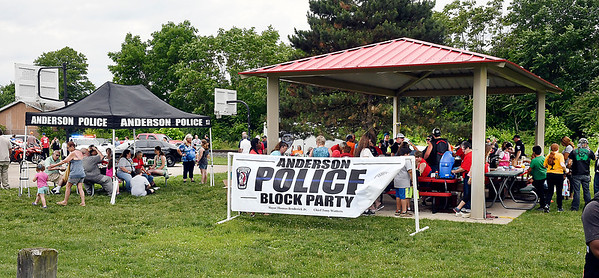 John P. Cleary | The Herald Bulletin<br /> Anderson Police Department held their first block party Saturday at Walnut Street Park. Saturday's event was the first of nine block party's scheduled throughout the city this summer.